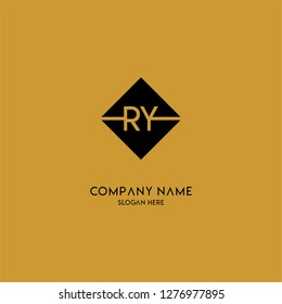 gold geometric square ry logo letter with black background design concept