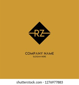 gold geometric square rz logo letter with black background design concept
