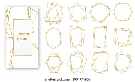 Gold Geometric Wedding Invitation frames. Geometrical polyhedron, art deco style for wedding invitation