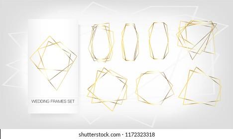 Gold Geometric Wedding Invitation, Set of Luxury Frames. Vector Congratulation Card for Birthday, New Year, Christmas. Sparkle Gradient Rich Golden Ads, Wedding Card Background. Polygon Borders Set