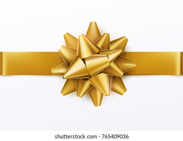 Gold gift bow with horizontal ribbon. Isolated on white background. Vector illustration