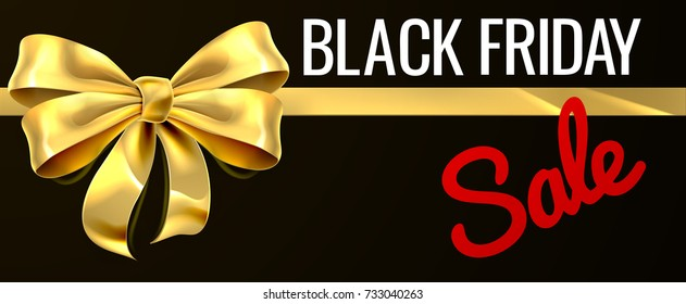 A gold gift bow ribbon Black Friday Sale sign design