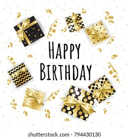 Gold gift boxes and confetti on black background. Birthday template. EPS10