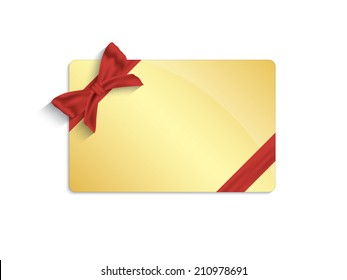 Gold gift card on white background