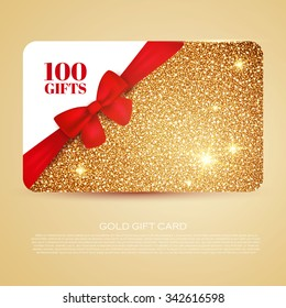 Gold Gift Coupon, Gift Card. Discount Card, business card) with Bow. Holiday Background for Invitation. Vector illustration