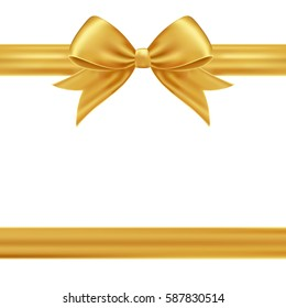 Gold gift ribbon and bow.