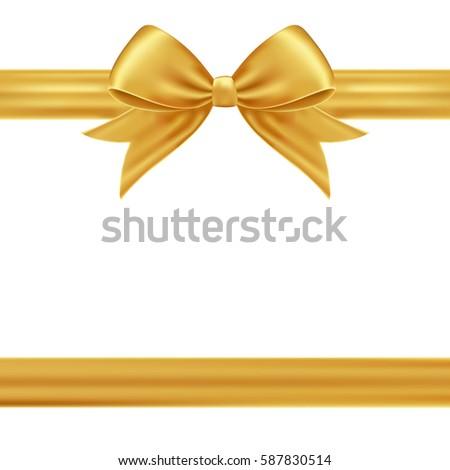 gold gift ribbon bow stock vector royalty free 587830514