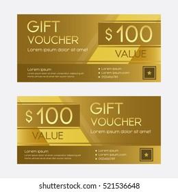 Gold gift voucher design template for present