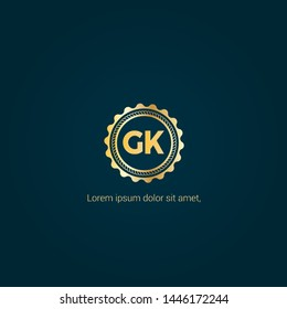 Gold GK company linked letter logo concept. Designed for your web site design, logo, app, UI. Gold initial logo design. GK gold logo.luxury design and color.