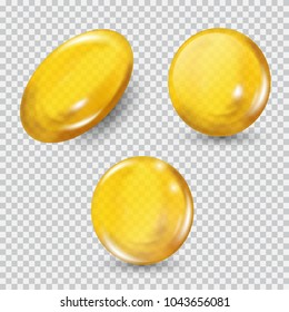Gold glass ball set isolated on transparent background. Regenerate face cream and vitamin complex concept. Shining golden essence droplet of oil collagen essence. Vector illustration for your design.