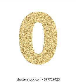 Gold glitter alphabet number 0. Ideal for wedding invitations, posters, greeting cards, banners, flyers, postcards, birthday party designs etc