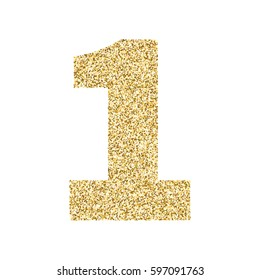 Gold glitter alphabet number 1. Ideal for wedding invitations, posters, greeting cards, banners, flyers, postcards, birthday party designs etc