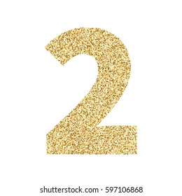 Gold glitter alphabet number 2. Ideal for wedding invitations, posters, greeting cards, banners, flyers, postcards, birthday party designs etc