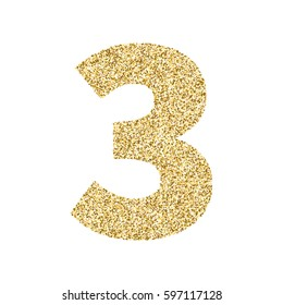 Gold glitter alphabet number 3. Ideal for wedding invitations, posters, greeting cards, banners, flyers, postcards, birthday party designs etc