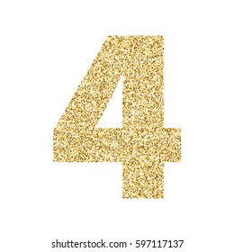 Gold glitter alphabet number 4. Ideal for wedding invitations, posters, greeting cards, banners, flyers, postcards, birthday party designs etc