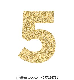 Gold glitter alphabet number 5. Ideal for wedding invitations, posters, greeting cards, banners, flyers, postcards, birthday party designs etc