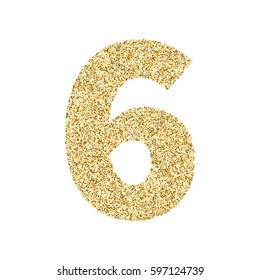 Gold glitter alphabet number 6. Ideal for wedding invitations, posters, greeting cards, banners, flyers, postcards, birthday party designs etc