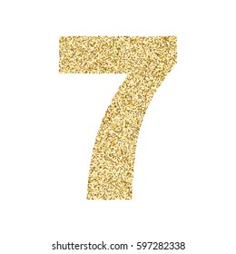 Gold glitter alphabet number 7. Ideal for wedding invitations, posters, greeting cards, banners, flyers, postcards, birthday party designs etc