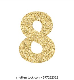 Gold glitter alphabet number 8. Ideal for wedding invitations, posters, greeting cards, banners, flyers, postcards, birthday party designs etc
