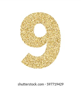 Gold glitter alphabet number 9. Ideal for wedding invitations, posters, greeting cards, banners, flyers, postcards, birthday party designs etc