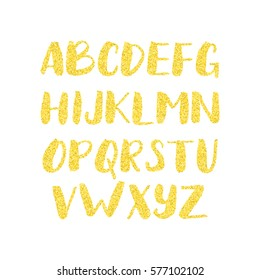 Gold glitter alphabet. Shiny brush calligraphy with golden glitter texture effect. Font with sparkles.