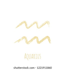 Gold glitter Aquarius zodiac sign, hand painted horoscope symbol vector. Astrological icon isolated. Aquarius astrology zodiac symbol gold clip