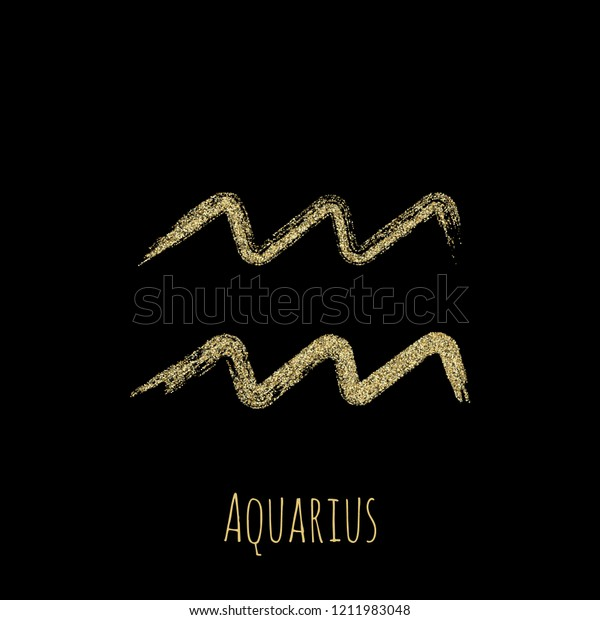 Gold Glitter Aquarius Zodiac Sign Hand Stock Vector (Royalty