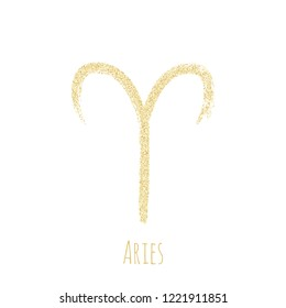 Gold glitter Aries zodiac symbol vector, hand painted horoscope sign. Astrological icon isolated. Aries astrology zodiac sign gold clip art.