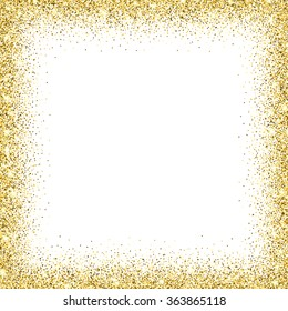 Gold glitter background. Gold frame sparkles on white background.
