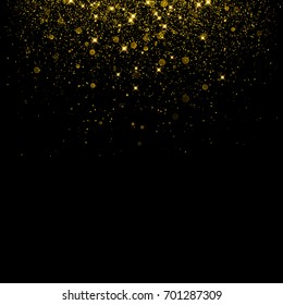 Gold glitter background with sparkle shine light confetti. Vector glittering black background. Golden shimmer texture for luxury backdrop design.