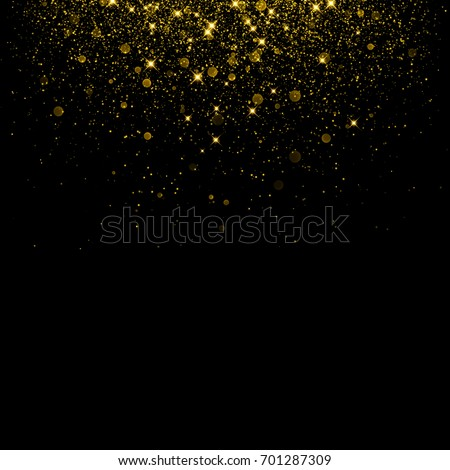 3819a8eff360 Gold glitter background with sparkle shine light confetti. Vector  glittering black background. Golden shimmer
