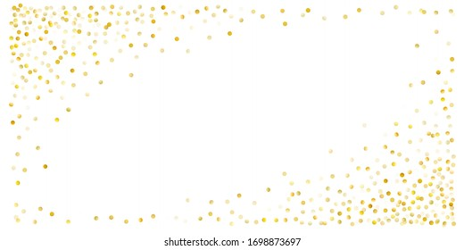 Gold glitter background vector illustration. yellow and brown dust falling down, flying circle Golden confetti elements. Sparkle dots, round tinsel elements celebration backdrop graphic design