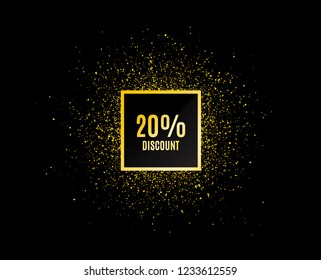 Gold glitter banner. 20% Discount. Sale offer price sign. Special offer symbol. Christmas sale background. Abstract shopping banner tag. Template for design. Vector