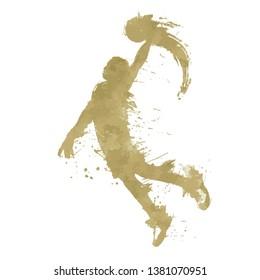 gold glitter basket ball player jumping in the air holding golden ball