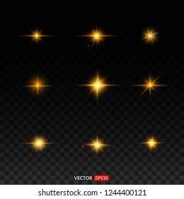 Gold glitter bokeh lights and tinsel. Bright star, solar particles and sparks with glare effect on a transparent background. Vector EPS10