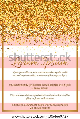 a4cea9373 Gold glitter border with pink stripes. Template for holiday designs, card,  invitation, party, birthday, wedding, baby shower, bridal shower, save the  date, ...