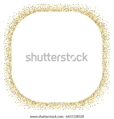 bf286ea71b88 Gold glitter border vector on white background. Golden sparkles border