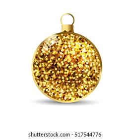 Gold glitter Christmas ball background.