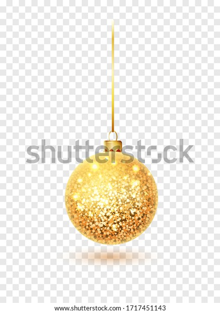 Gold glitter christmas ball hanging. Christmas bauble decoration elements. Object isolated a background with transparency effect.