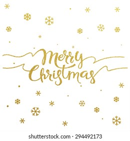 Gold glitter Christmas lettering design. Merry Christmas greeting card with golden glittering snowflakes pattern decoration.