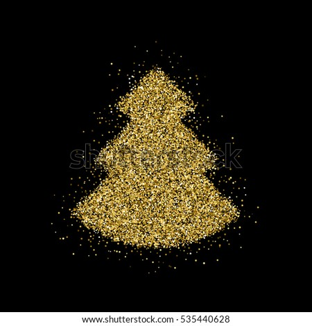 gold glitter christmas tree xmas happy new year badge with light background for logo
