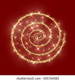 Gold glitter circle golden vector Christmas background abstract sparkle Xmas luxury shiny new year red texture