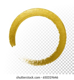 Gold glitter circle with vector golden paint brush texture on vector transparent background. Round paint smear or rough ring stamp for premium festive card or poster design