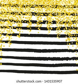 Gold glitter confetti with dots on black stripes. Random falling sequins with metallic shimmer. Template with gold glitter confetti for party invitation, banner, greeting card, bridal shower.