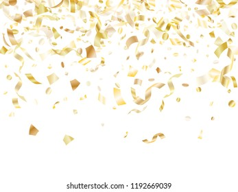 Gold glitter confetti flying on white holiday poster background. Premium flying sparkle elements, gold foil gradient serpentine streamers confetti falling christmas vector.