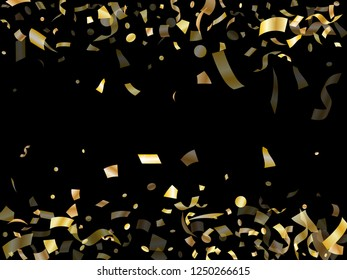 Gold glitter confetti flying on black holiday vector graphics. Beautiful flying sparkle elements, gold foil gradient serpentine streamers confetti falling anniversary vector.