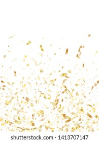 Gold glitter confetti flying on white holiday vector graphics. Rich flying sparkle elements, gold foil gradient serpentine streamers confetti falling christmas background.