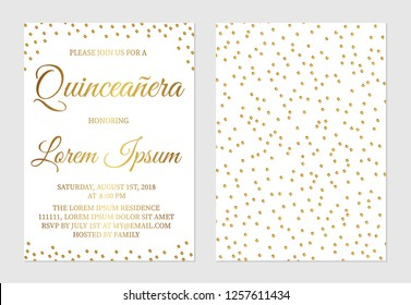Gold glitter confetti Quinceañera invitation card  front and back side. Golden polka dots girl's 15th birthday party invite. Spanish and Latin countries traditions. Easy to edit vector template.