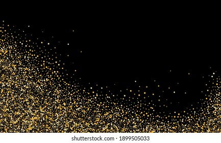 Gold glitter confetti on a black background. Shiny particles scattered, sand. Decorative element. Luxury background for your design, cards, invitations, vector