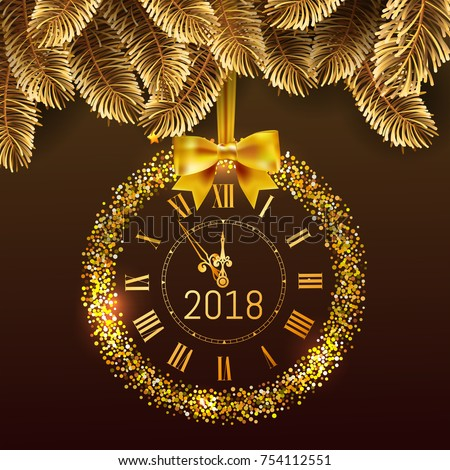gold glitter disco vector 2018 happy new year background with gold clock and christmas tree border
